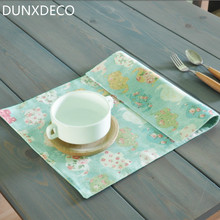 DUNXDECO Table Placemat Plate Cover Mat Fresh Garden Country Style Green Elephant Desk Accessories Home Decor