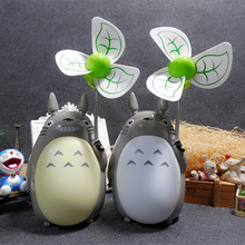 2017 New Arrival Cute Totoro Desktop USB Fan Students Study Fan Rechargeable Night Light Fan
