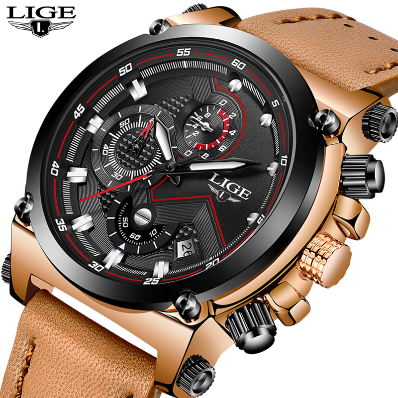 2018 LIGE Mens Watches Top Brand Luxury quartz wristwatches Men Casual Leather Military Waterproof Sport Watch Relogio Masculino<br>
