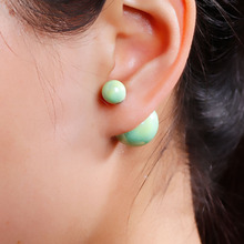 "8SEASONS New Fashion Lady Ear Studs Acrylic Earrings post Round Mint Green AB Color imitation pearls 24x16mm(1""x5/8""),1 Pair"