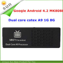 New 2014 cheap android tv mk808 mini pc smart tv android 4.2 dual core 1G 8G support xbmc youtube DHL FedEx shipping
