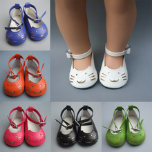 Girl Gift 18 Inch 45cm American Girl doll 7cm Doll Shoes Mini Leather Shoes For Baby Reborn Doll(China)