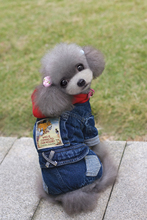 Red Hoodied  Four Legs  Denim Pet Dogs Coat Free Shipping By China Post Dogs winter coat