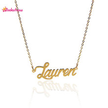 "AOLOSHOW Nameplate Necklace Women Letter "" Lauren "" Charm Initial Necklace Stainless Steel Pendant Name Statement Necklace 2447"
