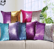 PEIYUAN Magical Throw Pillowcase Color Changing Reversible Pillow Cover DIY Mermaid Sequin Pink Purple Gold Cushion Cover(China)