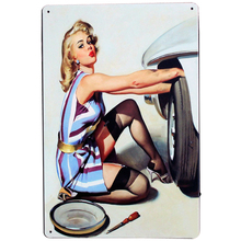 GARAGE REPAIR Metal Tin Sign  Retro Plate Blond Lady blue dress and silk stocking Home Decor for bar pub club LJ2-13 20x30cm A1