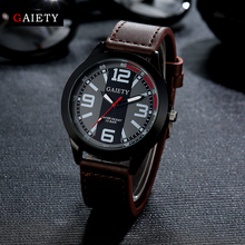 Gaiety Fashion Men Watch Casual Black Face Leather Strap Quartz Wristwatch Watches For Men Business Sport Classic Gift Clock