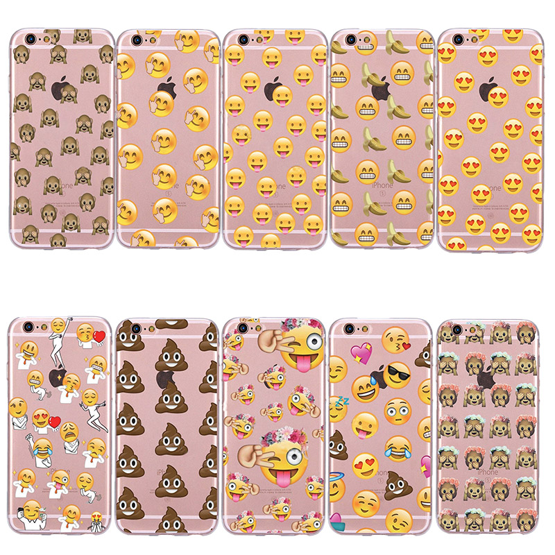 5S 6S Plus Coque Funny TPU Emoji Case For iPhone 5 5S SE/ 6 6S/ Plus Cover Transparent Clear Cute Soft Silicone Capinha Cases(China (Mainland))