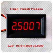 "RD 4 Wires 0.36"" Variable Precision DC 0-33 V Digital Voltmeter voltage panel meter led display Color [ 4 pieces / lot](China)"