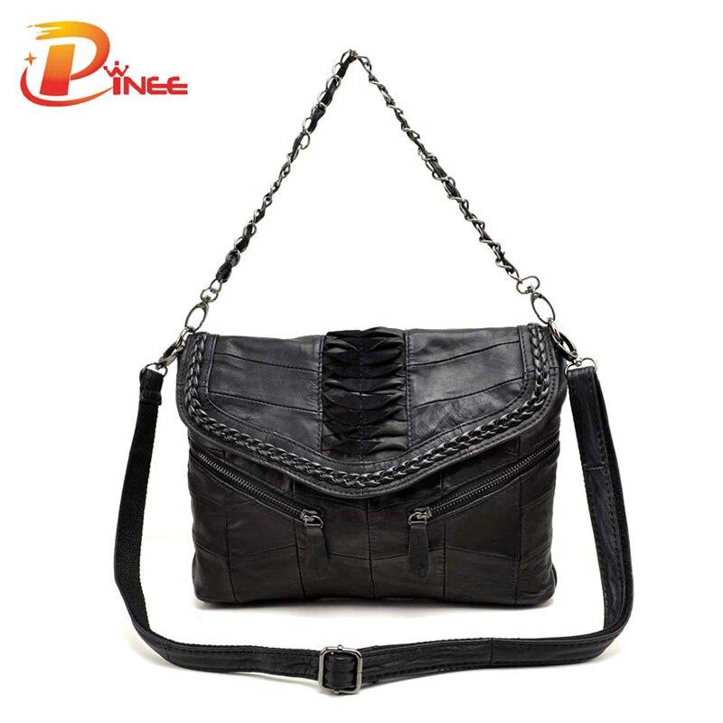 New 2016 Fashion Genuine Leather Women Handbag Patchwork Sheepskin Women Shoulder Bag Famous Brand High Quality Women Bag Tote<br>