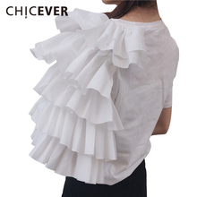 CHICEVER 2017 Summer Female T-shirt For Women Tops Print Letter Unilateral Butterfly Sleeve Top Women's T-shirts New Clothing