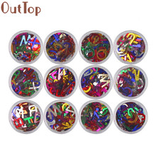New OutTop 2017 Fashion Nail Tips 12pcs 26 English Alphabets Letter Flash Nail Art Stickers DIY Nail Art Decorations(China)