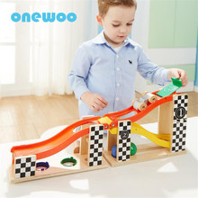 Two-in-one Wooden Track Trolley Car Toys Children Puzzle Set Model Kids Toys Parent-child Interaction Game Toys Birthday Gifts(China)