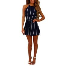 Buy OL Style Slim Romper Women Jumpsuits Casual Vertical Striped Summer Playsuit Sexy Halter Neck Belted Rompers Overalls Bodysuit