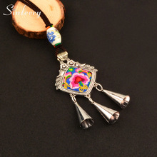 SINLEERY Ethnic China National Handicraft Ceramics Beads Embroidery Flower Tassel Big Pendant Long Necklace For Women MY055 SSD(China)