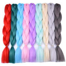 Full Star 100g Straight ombre Braiding Blue hair products Pure Green Red Synthetic High Temperature Fiber Hair Exthesion