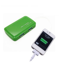 4 Port Compact Portable High Speed USB 3.0 Data Hub for Windows, Mac OS, Linux With Built-in 15cm USB 3.0 Cable - Green