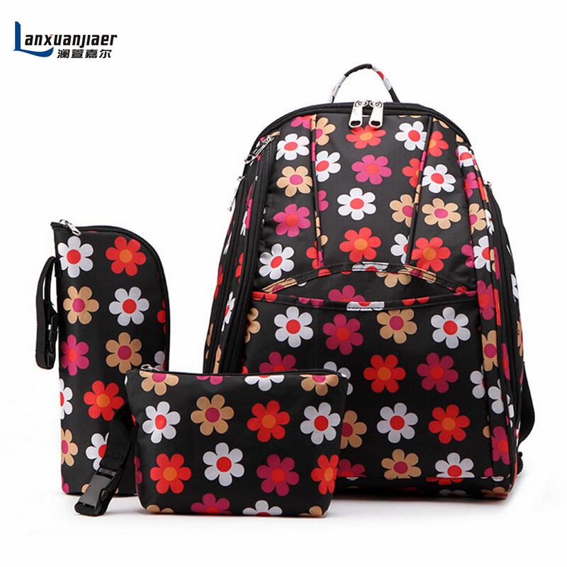 Lanxuanjiaer large capacity multifunctional backpack nappy bag baby diaper bags changing mat mommy bag babies care product<br>