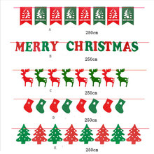 2.5M Merry Christmas Garland Bunting Flag XMAS Tree Socks Elk Letters Home Market Mall Decorations Party Banner Decor GI874698