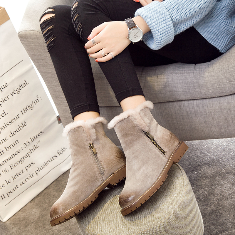 CIMIM Women Winter Boots New Arrival Genuine Leather Snow Boots Pig Suede Plush Cashmere Warm Ankle Boots Casual Flats Shoes<br>