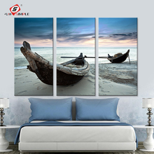 Dropshipping Oil Painting Wall Art Canvas Prints Beach Landscape Boat Modern Wall Pictures For Living Room Home Decoration 3pcs(China)