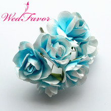 72pcs 4cm Two Tone Color Decorative Artificial Large Mulberry Paper Flowers Rose Bouquet For Scrapbooking Wedding Hair Garland