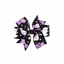1PCS Boutique Halloween Punk Hair Bow with Clips Hair Pumpkin Hair Bow Halloween Hair Accessories Best Friend Holiday Gift 2017(China)