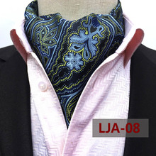 British Style Designer's Man Fashion Ascot Wedding Banquet Neckerchief High Quality Woven Blue Paisley Pattern