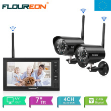 "EU Shipping !FLOUREON 7"" TFT LCD CCTV DVR Digital Weatherproof Wireless 2pcs IP Camera Surveillance System Security Baby Monitor"