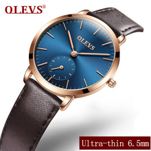 OLEVS Casual Women Quartz Watch High Quality Ultra Thin Ladies Wristwatch Business Clock Leather Strap Student Watches L5871P