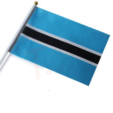 Free shipping Botswana hand wave flags 14 * 21CM decorative quality polyester Botswana flag countries flags are sold