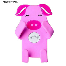 MWIHPHMS universal Car phone holder silicone cartoon outlet stand Any bending car air conditioning outlet GPS bracket pink pig(China)