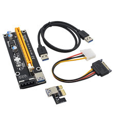 High Performance 0.6M PCI-E 1X to 16X Riser Card PCI Express Extender + USB 3.0 Data Cable / 15Pin SATA to 4Pin IDE Power Cord