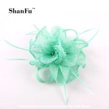Lady Girl Ivroy Wedding Hair Fascinator Seed Bead Feather Fascinators Sinamay Brooch with Clip/Pin for Church Prom SFB7079