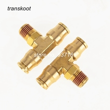 "2pcs 1572 Brass Fitting D.O.T Push In DOT Swive Male Branch Tee for Hose I.D 1/4"" 3/8"" 1/2"" and 1/8"" 1/4"" 3/8"" 1/2"" Male NPT"