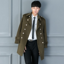 nanseehome men wool coat navy style olive overcoat design vintage long outerwear male