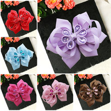"Free Shipping 10pcs  4.5-5""  A- Cute Rainbow Colorful Flower Hair Acessories Photography Kids Headwear Bows Clips"