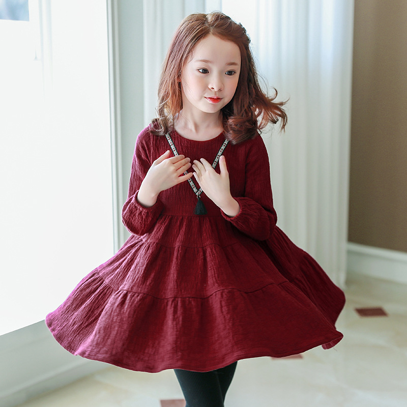 2017 kids girl dress autumn winter fashion baby girl England style long sleeve dress children clothing casual girl clothes<br>
