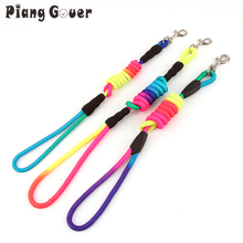 Rainbow Color Pet Dog Traction Rope Puppy Training Nylon Belt Pets Leads Collars S -XL(China)