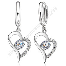 JEXXI Crystal Cubic Zirconia Fine Jewellery Set 925 Sterling Silver Real Pure Heart Pendant Leverback Earrings Drop Accesory