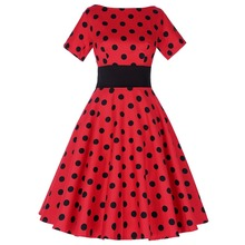 Buy Elegant Ploka Dots Dresses Women 1950s Vintage Rockabilly Dress Lady Clothes Short Sleeve Cocktail Party Swing Tea Dress Vestido for $27.38 in AliExpress store