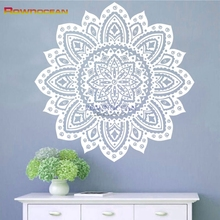 Customized Color Yoga Mandala Indian Round Lotus Art Wall Stickers Home Decor Living Room Interior Muursticker Flowers MA-11