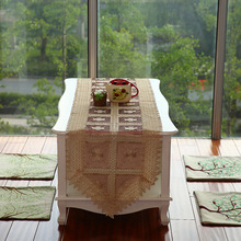 New Hot Sell 40*200cm Elegant Full Lace Table Runner Coffee Delicate Polyester Lace Table Towel Cloth Cover for Wedding 032