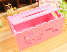 Hello Kitty Cartoon Animation Tissue Case Box Home Decor Wooden Towel Paper Box Home/Car Napkin Papers Bag Holder Box