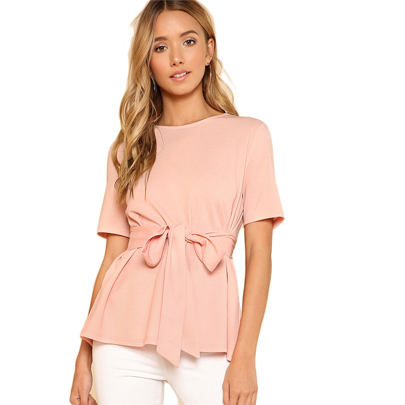 Sheinside Self Belt Keyhole Back Blouse Solid Short Sleeve Top 18 Summer Women Office Ladies Work Elegant Blouse 34