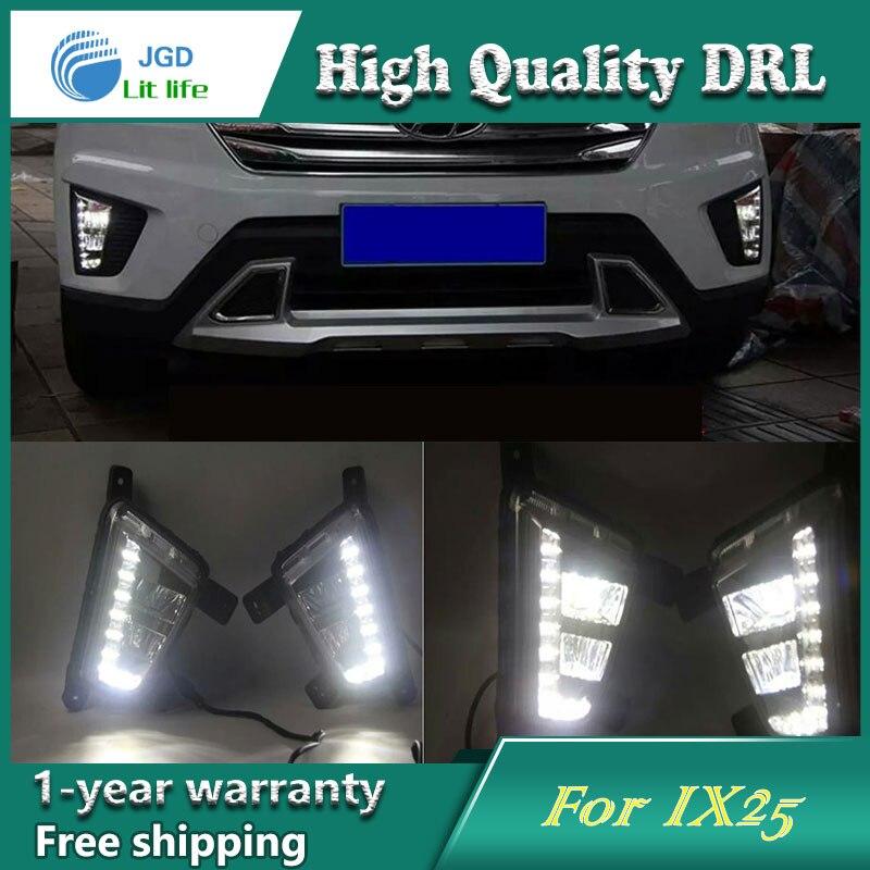Free shipping !12V 6000k LED DRL Daytime running light case for Hyundai IX25 fog lamp frame Fog light Car styling<br><br>Aliexpress
