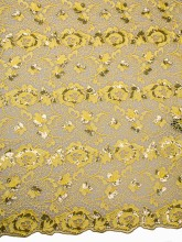 Lateset African Cord Lace Yellow Shinning Flowers Chemical Lace Supplier p4008_12(China)