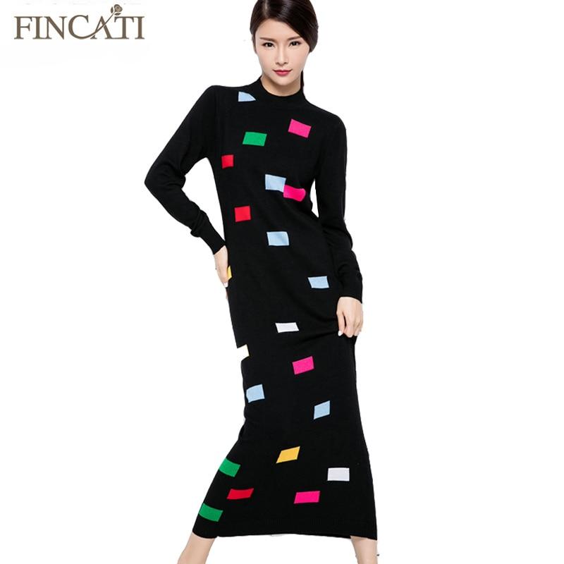 2016 Women Autumn Winter Color Rectangles Knitted Half Turtleneck Ankle-Length Slim Fitted Cashmere Sweater Dress Îäåæäà è àêñåññóàðû<br><br>