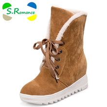 S.Romance Women Boots Plus Size 34-43 Fashion Round Toe Snow Boots Lace-Up Winter Boot Woman Shoes Black Yellow Gray SB311(China)