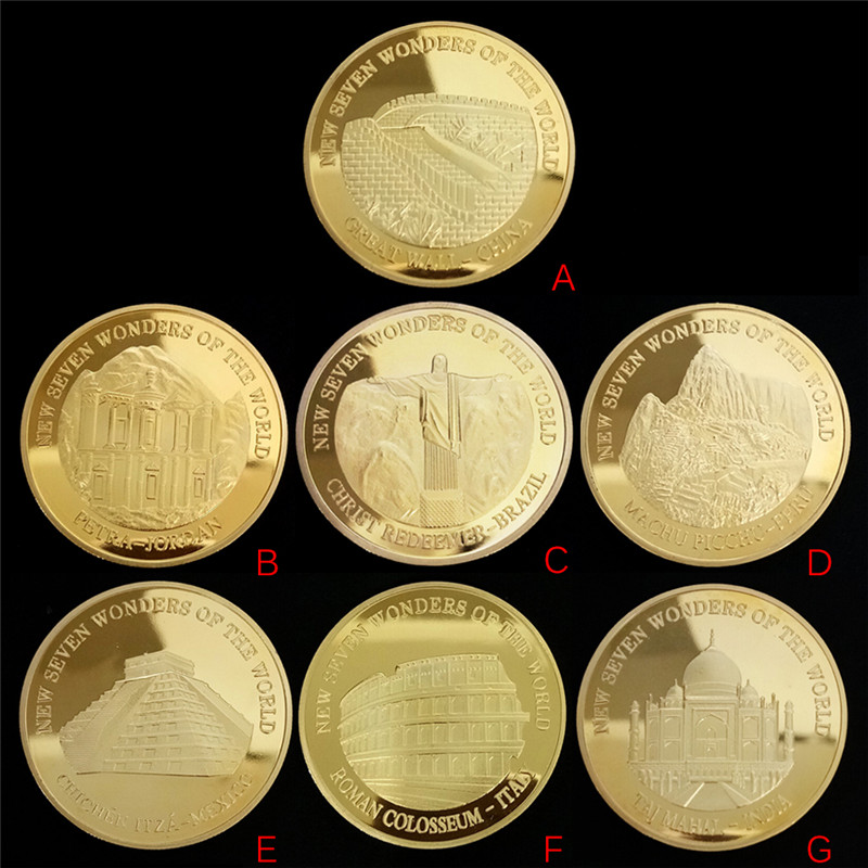 1 Pc Seven Wonders Of The World Gold Coins Commemorative Coin Collection Souvenir